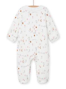 Pelele de color crudo con volantes con estampado de fantasía para recién nacido unisex MOU1GRE2 / 21WF0341GRE001