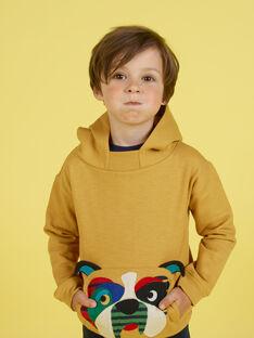 Sudadera de color mostaza con capucha para niño MOMIXSWE / 21W902J1SWEB101