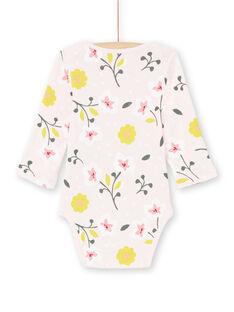 Body de color rosa pastel y amarillo con estampado floral para bebé niña MEFIBODFLE / 21WH13B7BDL301