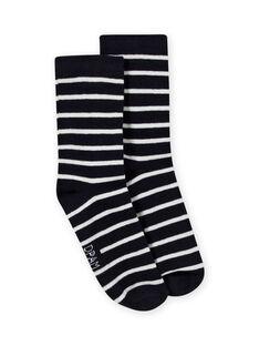 Calcetines de rayas de color azul marino y crudo para niño MYOJOCHOR1 / 21WI0211SOQ001