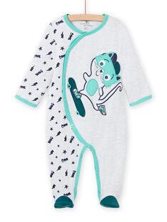 Pelele de color gris jaspeado con estampado de gato para bebé niño MEGAGRECHA / 21WH1495GREJ920