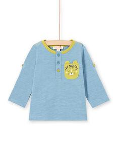 Camiseta azul con manga larga remangable para bebé niño MUJOTUN1 / 21WG1021TML020