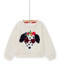 Sudadera de color crudo con estampado de perro de fantasía para niña MAMIXSWEA / 21W901J1SWE006
