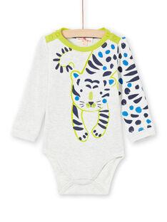 Body de color crudo jaspeado y verde para bebé niño MUKABOD / 21WG10I1BOD006
