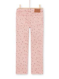 Pantalón rosa con estampado floral para niña MAJOPANT2 / 21W90122PAN312