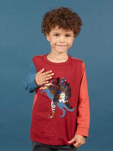 Camiseta de color rojo y azul marino para niño MOPATEE3 / 21W902H1TML719