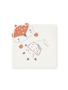 Capa de baño y guante de color crudo con estampado de zorro para recién nacido unisex MOU1POIN / 21WF4242POI001