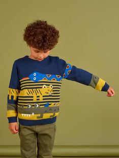 Jersey de color azul noche con dibujos de animales para niño MOKAPUL / 21W902I1PUL705