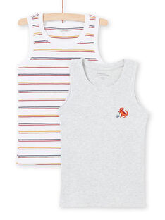 Pack de 2 camisetas de tirantes de color blanco y gris con estampado a juego para niño MEGODELDINO / 21WH12B2HLI000