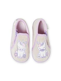 Patucos de noche de color gris jaspeado con estampado de unicornio para bebé niña MIPANTLICO / 21XK3732D0A943