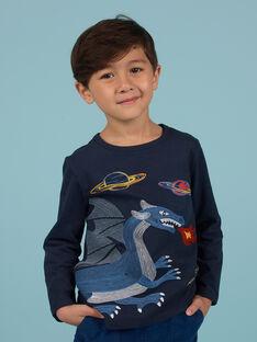 Camiseta azul noche con estampado de dragón y espacio para niño MOPLATEE3 / 21W902O4TML705