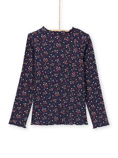 Camiseta azul marino con estampado floral para niña MAJOUTEE6 / 21W90121TMLC205