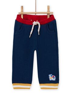 Pantalón de color azul noche con detalles en contraste para bebé niño MUMIXPAN1 / 21WG10J2PAN713