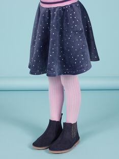 Falda evasé azul de lunares dorados de terciopelo para niña MAPLAJUP2 / 21W901O2JUPC202