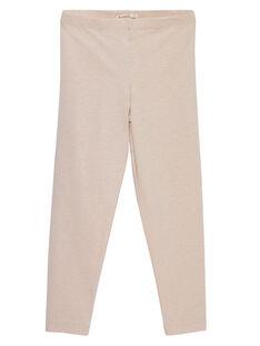 Leggings de color rosa pastel de rayas de lúrex doradas para niña JYAPOELEG1 / 20SI01G2CAL301