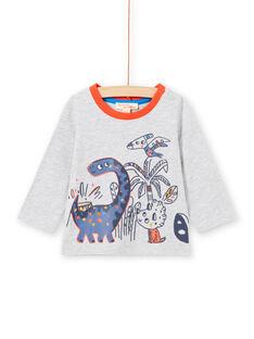 Camiseta de color gris jaspeado de manga larga con estampado de dinosaurios para bebé niño MUPATEE3 / 21WG10H2TML943