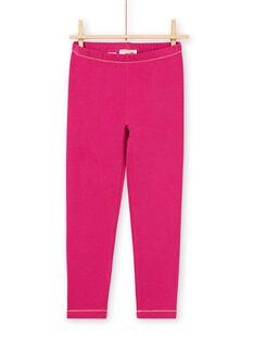 Leggings de color rosa oscuro con detalles dorados para niña MYAJOLEG3 / 21WI0111CALD312