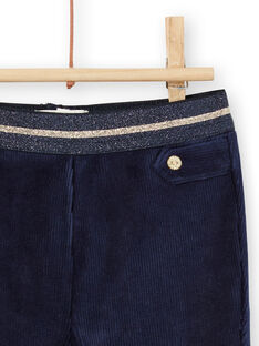 Pantalón azul marino de pana con detalles dorados para bebé niña MIMIXPAN / 21WG09J1PAN070