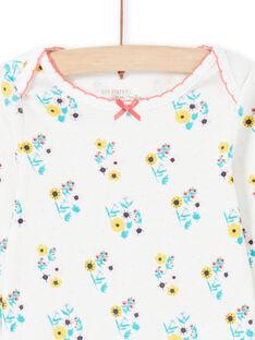 Body de color crudo y turquesa con estampado floral para bebé niña MEFIBODAOP / 21WH13B4BDL001
