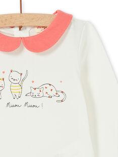 Body de algodón de color blanco y coral para bebé niña LINAUBOD / 21SG09L1BOD001