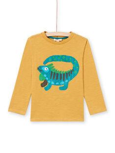 Camiseta de manga larga de color amarillo con estampado de iguana para niño MOTUTEE2 / 21W902K3TMLB101