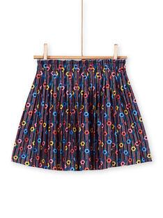 Falda rosa y azul con estampado floral para niña LAHAJUP / 21S901X1JUP070