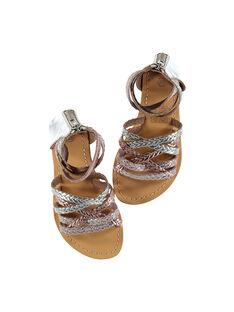 Sandalias de piel metalizada y trenzada para niña FFSANDROX / 19SK35C2D0E956