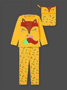 Pijama de camiseta y pantalón amarillo y naranja para niña MEFAPYJFOX / 21WH1174PYG010