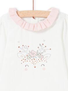 Body de manga larga de color crudo con estampado y cuello avolantado para bebé niña MOU1BOD4 / 21WF0341BOD001