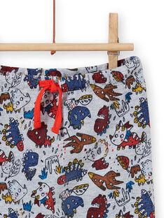 Pantalón de color gris jaspeado con estampado de dinosaurio para bebé niño MUPAPAN1 / 21WG10H2PAN943