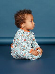 Pelele de color verde agua y naranja con estampado de perro para bebé niño MEGAGREAOP / 21WH1434GRE219