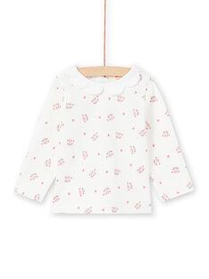 Camiseta de manga larga de color crudo con estampado de caras de leopardo y flores para bebé niña MIPABRA / 21WG09H2BRA001