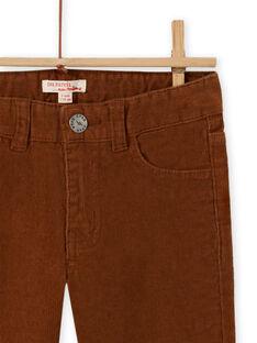 Pantalón de pana liso marrón para niño MOJOPAVEL9 / 21W902N5PAN812