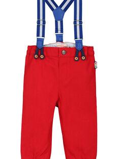Pantalón con tirantes de color rojo para bebé niño FUCOPAN / 19SG1081PANF505