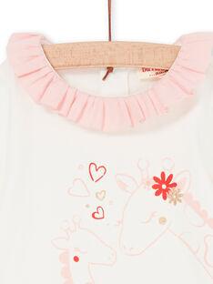 Body de color crudo y rosa, para bebé niña LICANBOD / 21SG09M1BOD001