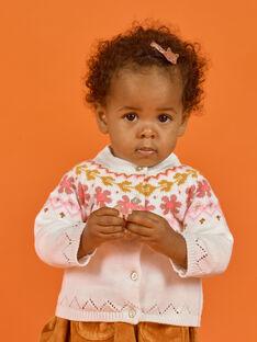 Cárdigan de punto de color crudo para bebé niña MISAUCAR2 / 21WG09P2CAR001