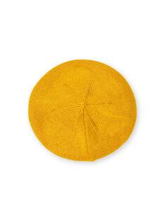 Boina de punto fino de color amarillo, para bebé niña LYINAUBON / 21SI09L1BON106