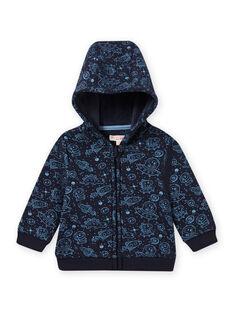 Cárdigan de color azul y negro con estampado de espacio para bebé niño MUPLAGIL / 21WG10O1GILC243