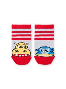Calcetines cortos grises y rojos de rayas para niño LYOVISOQ / 21SI02U1SOQ943