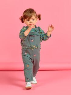 Peto de color caqui con bordados florales para bebé niña MIKASAL / 21WG09I1SAL626