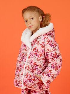 Parka de color crudo y rosa reversible con capucha para niña MACAPARKA / 21W90162PARD329