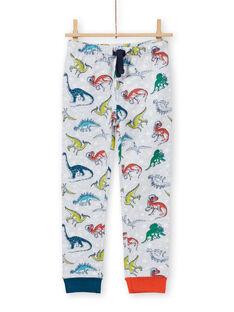 Pijama de color gris jaspeado fosforescente con estampado de dinosaurio para niño MEGOPYJAOP / 21WH1282PYJJ922