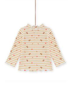Jersey fino de canalé de rayas y estampado floral para bebé niña MISAUSOUP / 21WG09P1SPL001