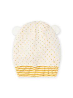 Pasamontañas de color crudo de punto con detalles de orejas para bebé niña MYICOBON / 21WI0965BON001
