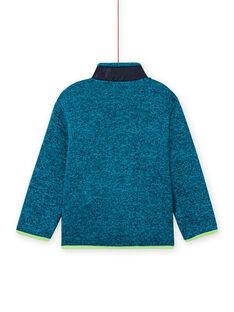 Cárdigan de color turquesa jaspeado con detalles de color verde flúor y azul marino para niño MOJOGITEK1 / 21W90212GILC200