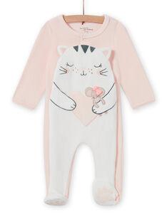 Pelele de color rosa pastel con estampado de gato para bebé niña MEFIGRECHA / 21WH1382GRE301