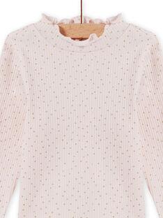 Jersey fino de color rosa pastel efecto canalé para bebé niña MIJOSOUPRIB3 / 21WG09N2SPL632