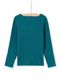 Jersey liso de color azul pato de manga larga para niña MAJOPULL2 / 21W901N1PUL714
