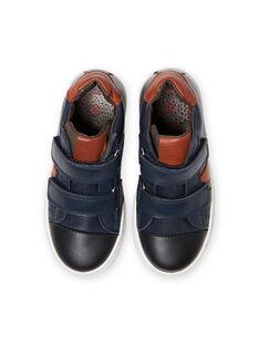 Zapatillas altas de color azul marino y detalles de colores para niño MOBASNEWMAR / 21XK3671D3F070