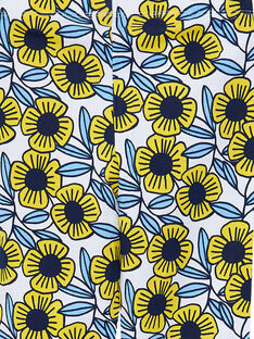 Leggings con flores de color azul y amarillo para niña JYATROLEG2 / 20SI01F2CAL001